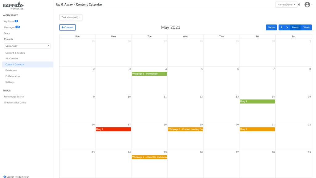 content calendar on narrato workspace